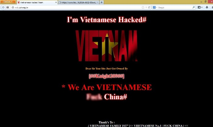Phan no vi Bien Dong, Hacker Viet tan cong pha hoai Website TQ