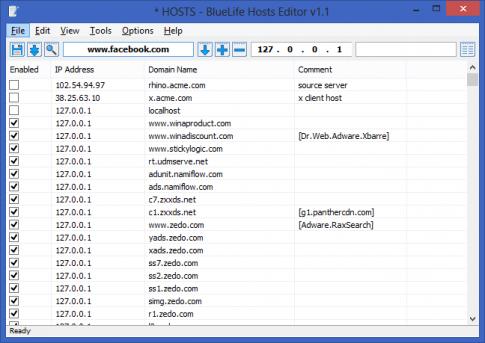 Chỉnh sửa file Hosts dễ dàng với BlueLife Hosts Editor