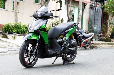 Bộ đôi Honda SH và Nouvo độ màu xanh Kawasaki