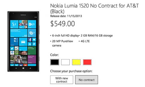 Lumia 1520 có giá chỉ 549 USD tại Mỹ, bộ nhớ 16GB, ngày 15/11 có hàng