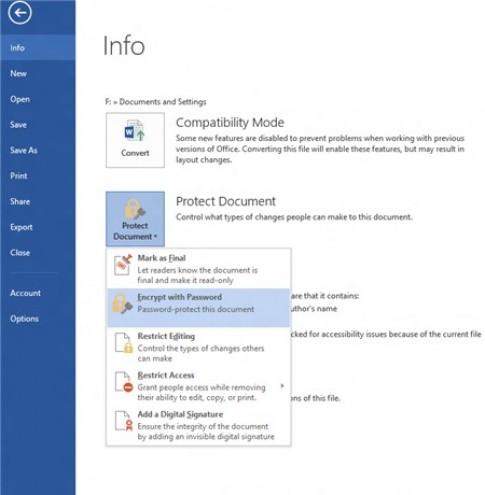 Password an toàn với file Word 2013