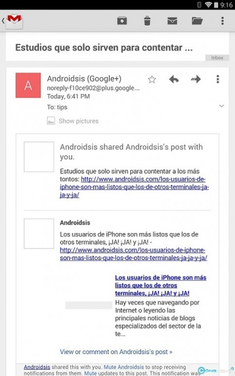 Gmail tren Android cap nhat phien ban 472 bo nut show pictures below khi doc email