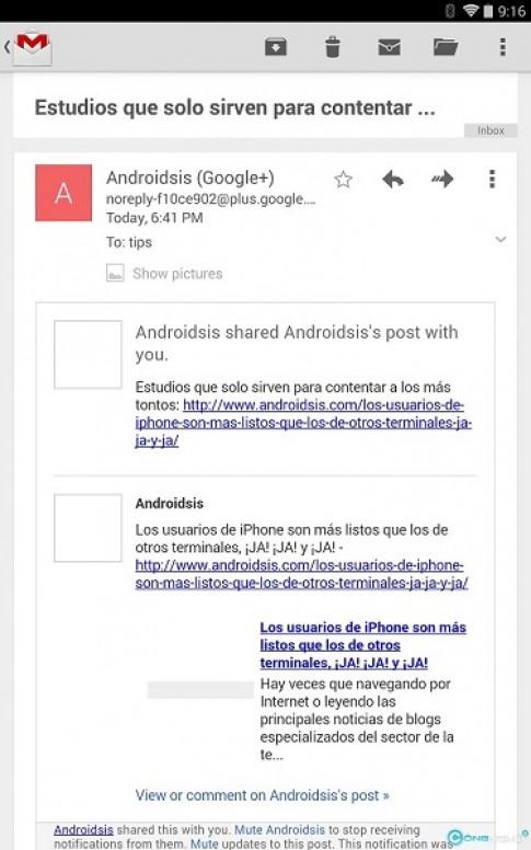 """Gmail trên Android cập nhật phiên bản 4.7.2 bỏ nút """"show pictures below"""" khi đọc email"""