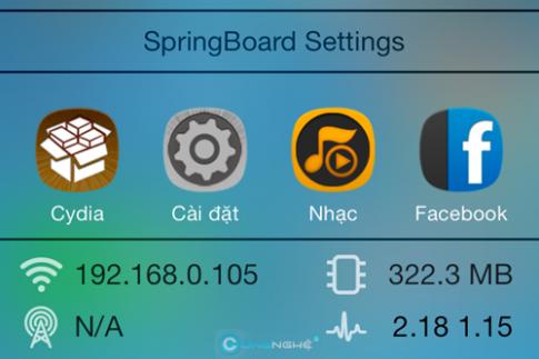 Hai ứng dụng giúp hiển thị thông tin hệ thống trên ControlCenter iOS7