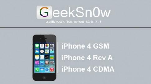 Jailbreak iOS 7.1 cho iPhone 4 với tool Geeksn0w