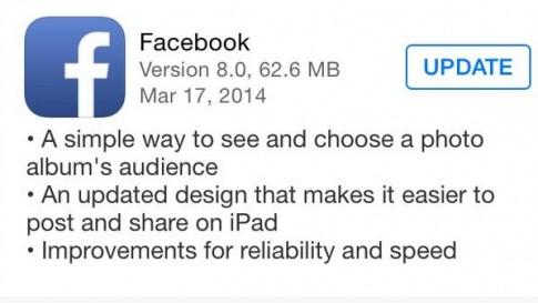 Không nên update Facebook 8.0 trên iOS