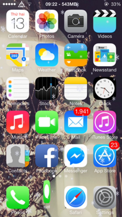 Làm icon iOS 7 nhảy nhót trong tuyết với Tweak