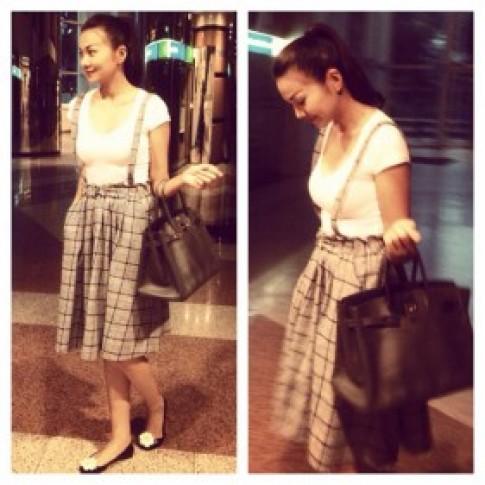 Thanh Hằng điệu đà diện váy xuống phố