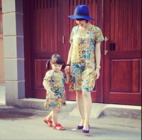 Thời trang hè đầy màu sắc của mẹ con Mi Vân