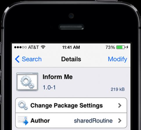 Tweak Inform Me: Cung cấp mọi thông tin về iPhone của bạn