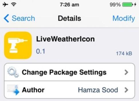 Tweak mới LiveWeatherIcon: icon app Weather thay đổi theo thời tiết trên iOS 7