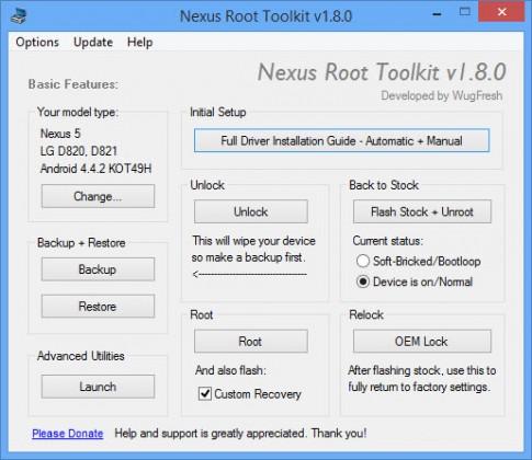 Wug's Root Toolkit công cụ hoàn hảo cho chiếc Nexus của bạn