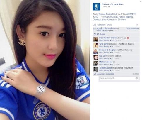 Ảnh Á hậu Huyền xuất hiện trên fanpage của đội bóng Chelsea