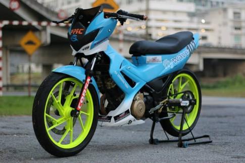 Suzuki Satria độ kiểng màu xanh Petronas đẹp lạ