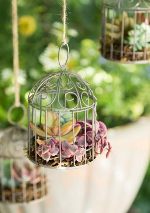 Biến lồng chim thành chậu hoa treo ấn tượng khu vườn