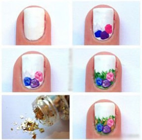 Cách vẽ nail hoa hồng kiểu 2