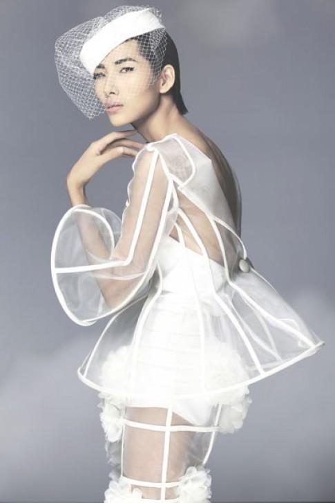 Hoàng Thùy mặc váy làm từ lưới và gọng nhựa