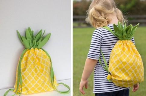 Ngộ nghĩnh chiếc túi hình quả dứa mẹ may tặng bé