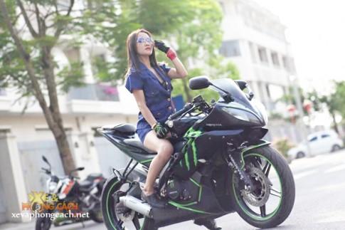 Nu giam doc Ha Thanh xinh dep voi niem dam me xe mo to