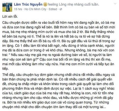 [Suy ngẫm] Lời xin lỗi bà lão bán vé số và câu chuyện dạy con của người mẹ Việt