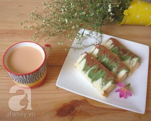 Xốp mịn thơm ngon món bánh bông lan trà xanh
