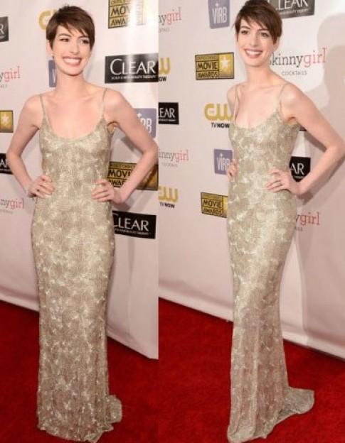 Anne Hathaway gầy gò trên thảm đỏ