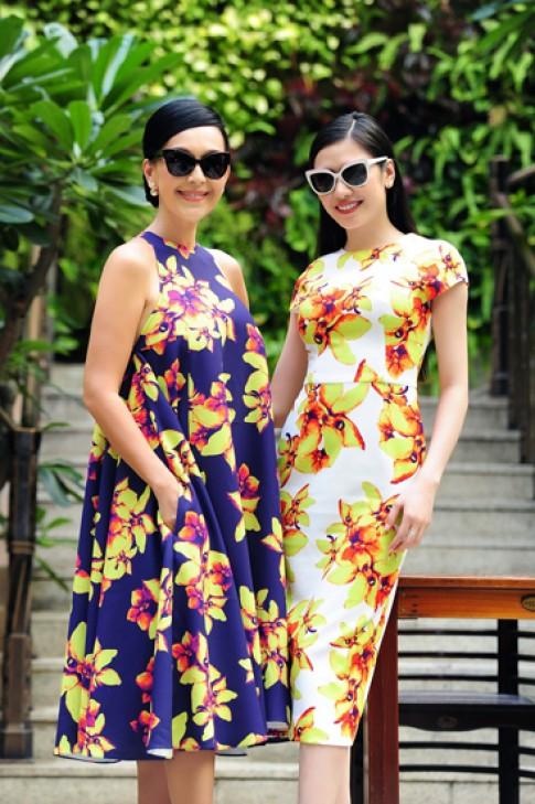 Diễm My và Tường Vy diện váy hoa lan rực rỡ