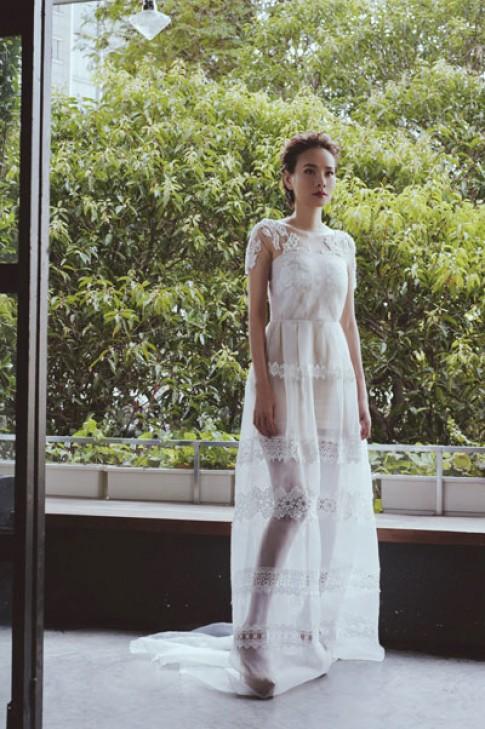 Dương Yến Ngọc mơ màng với váy cưới xuyên thấu