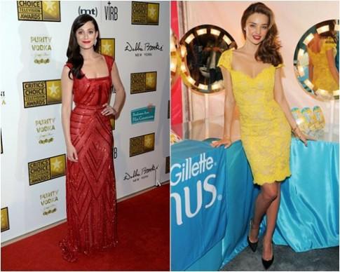Emmy Rossum đổi váy tránh 'đụng hàng' Miranda Kerr