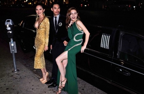 Hà Hồ, Tóc Tiên hội ngộ Tyra Banks tại tiệc thời trang ở Mỹ