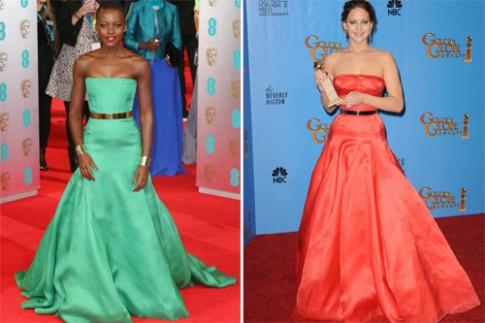 Jennifer Lawrence và Lupita Nyong'o đọ phong cách thảm đỏ
