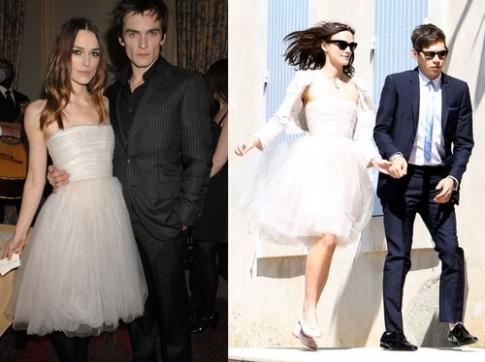 Keira Knightley biến váy cũ thành váy cưới
