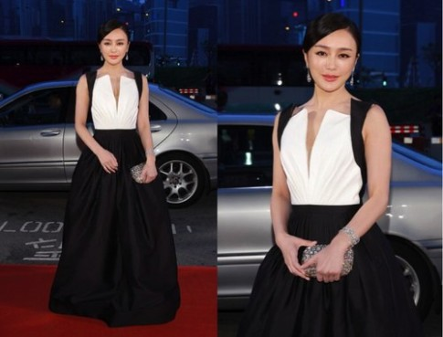 'Lữ Hậu' Tần Lam thanh lịch với váy đen trắng