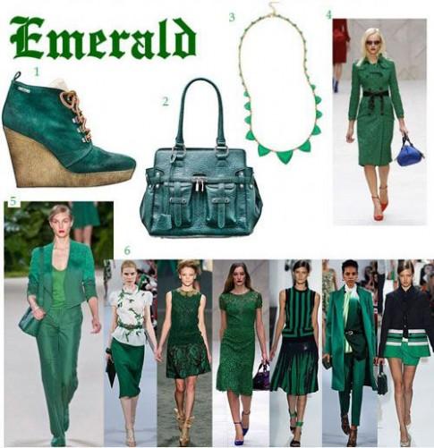 Màu xanh lục bảo bừng sức sống cho thời trang ra phố