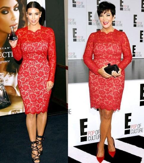 Mẹ con Kim Kardashian nhiều lần mặc 'đụng hàng'