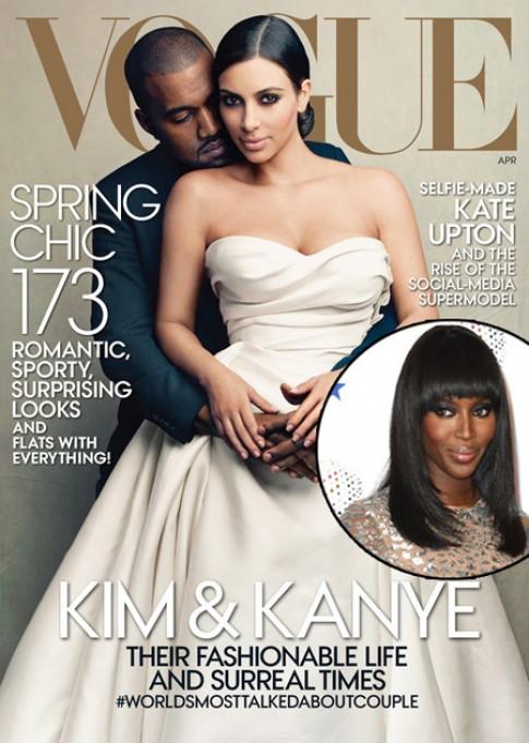 Naomi Campbell cười chuyện Kim-Kanye lên bìa Vogue