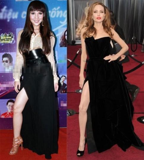 Sao Việt khoe chân kiểu Angelina