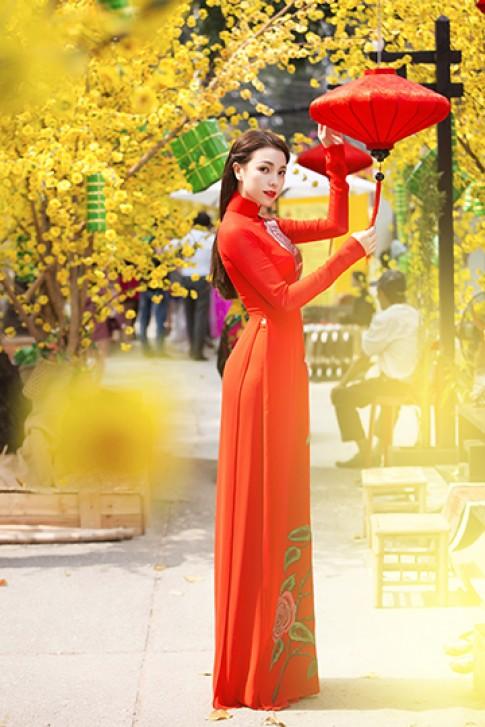 Trà Ngọc Hằng dạo phố với áo dài sắc màu