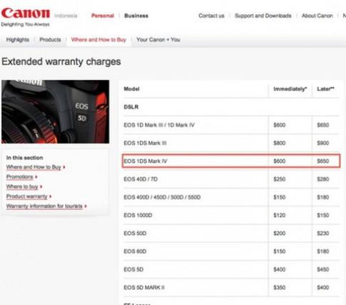 1Ds Mark IV xuất hiện trên trang web của Canon