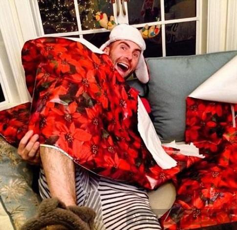 Ảnh Giáng sinh vui vẻ của Behati Prinsloo và Adam Levine