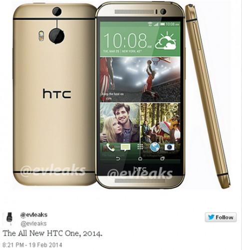 Ảnh HTC One thế hệ mới vỏ vàng lộ diện