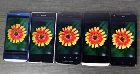 Ảnh so sánh màn hình 5 mẫu smartphone màn hình khủng