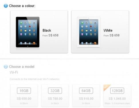 Apple cho đặt hàng iPad 4 bản 128 GB