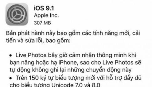 Apple ra iOS 9.1, nâng cấp chụp ảnh Live Photos cho iPhone 6s