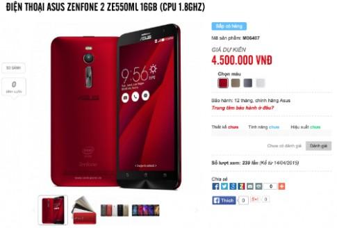 Asus Zenfone 2 chính hãng được rao giá từ 4,5 triệu đồng