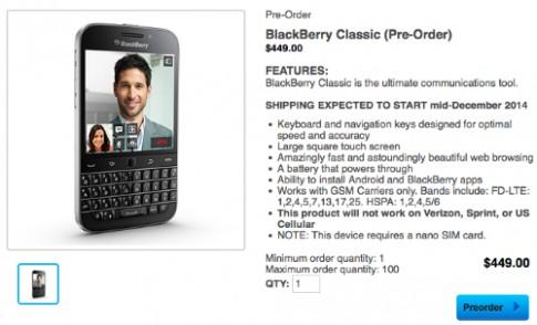BlackBerry Classic chưa ra mắt đã có giá 449 USD