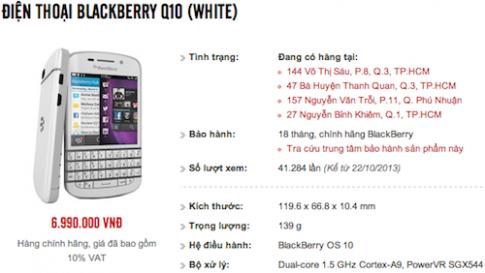Blackberry Q10 chính hãng giảm giá còn 7 triệu đồng