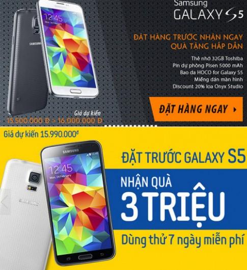Đại lý đã cho đặt hàng Galaxy S5, giá từ 15,5 triệu đồng