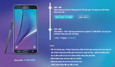 Galaxy Note 5 giá dự kiến 18 triệu đồng, bán cuối tháng 8