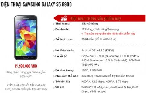 Galaxy S5 bán ở Việt Nam 11/4, giá chính hãng 15,9 triệu đồng